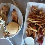 Pork sliders, eggrolls and fries