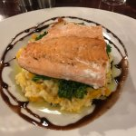 Salmon with butternut squash risotto & kale