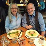 Bob and Carla with salmon and blacked-chicken