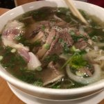 Pho with well done steak, flank, brisket, tendon and tripe