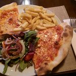 Basic pizza with chips & salad