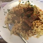 Beef goulash. It tasted really good but I was expecting a thick sauce instead of a thin juice co