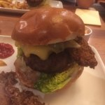 The knockout burger. Topped with cheese, buttermilk goujons and pulled pork