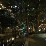 Riverwalk at night in front of the hotel