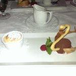 Grapefruit and chocolate dessert.