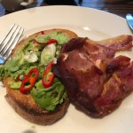 breakfast bacon and avocado with chilli on toast