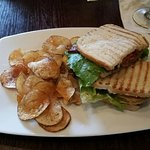 BLGT panini-style BLT with friend green tomato and spicy mayo!