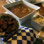 Lamb and beef gyro with side of lentil soup