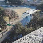 View from 7th floor, directly above Oswald's 6th floor sniper's nest (grassy knoll on right).