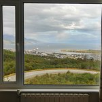 View of Ushuaia Harbor and the Beagle Channel from our room