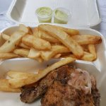 1/4 chicken with steak fries and mild sauce.
