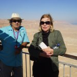 Zvika and my wife at the top of Masada overlooking the Dead Sea
