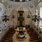 Inside the rebuilt synagogue in the Jewish Quarter of the Old City