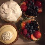 Baked goods: (miniatures)fresh fruit tart-exceptional. Key lime pie. Banana cream pie- fabulous.