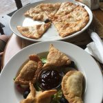 assorted appetizers and margherita pizza