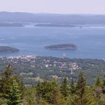 View of the Cruise Ships and Bar Harbor from the top of Cadillac Mountain, in Acadia National Pa