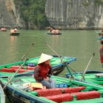 Halong bay boat operators in the traditional Vietnamese conical hats