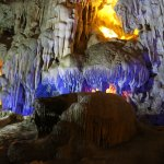 Sung Sot Cave with stalactite formation and LED lights!