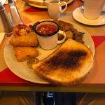 Vegan breakfast accompanied by Soya milk Americano