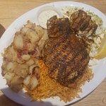 Cajun Opah Platter with Cajun Rice, Homefries, and Coleslaw