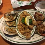 Oyster sampler cooked three ways