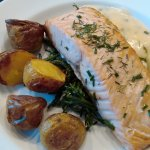 Salmon with roast potatoes and veg.