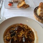 Mussels fideu and pate with fig and jams as starter