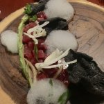 Appetizer: sushi, fennel, cucumber foam and blue corn...I think....I ate it too fast to remember