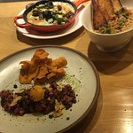 Our apps! Grits, lima bean spread, beef tartar