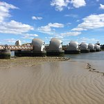 The Thames Barrier from the Thames Barrier Park - north bank of river (May 2017)