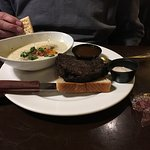 Potato Soup & featured Sandwich - well done open faced prime rib