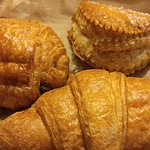Apple turnover, croissant, chocolate croissant