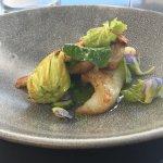 Butterfish, geen lipped mussel, lemon verbena, garden greens.
