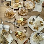 Dinner with penyet dishes.