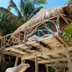 sorry for the foot. Our lovely Treetop cabana.