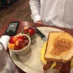 Breakfast sandwich with fruit
