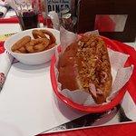 big hotdog and onion's rings