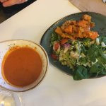 Tomato soup with 3 side salads