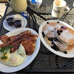 American Host special with blueberry pancakes
