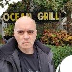 Bill Lewis of Fort Lauderdale enjoying lunch along the Atlantic in Vero Beach, Florida.