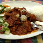 Pork Vindaloo. Not crazy hot, just well spiced and tender.