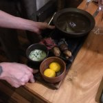 mushroom soup, made tableside