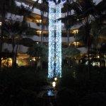 The impressive open air atrium at night