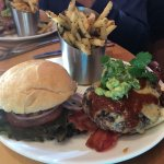 Bacon Bison Burger and Fries