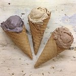 scoops in house-made waffle cones (vegan & gluten-free)