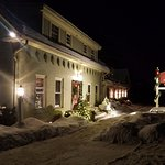 The front of the Inn during Winter. It might look cold outside, by the Inn is warm and cozy insi