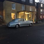 The 1958 Bentley in front of the new porch