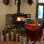 mulled wine in the bar next to the fire place