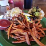 Mile High Nachos and Jamaican Me Hungry Chicken Sandwich with Sweet Potato fries.