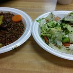 Mjadra Lentils Plate with house salad. Excellent!